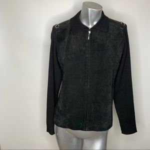 Cynthia Steffee Large Black Suede Sweater Jacket